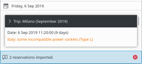 KDE Itinerary showing an inline notification about two successfully imported reservations.
