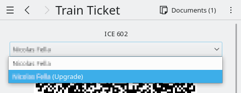 KDE Itinerary offering to select between the main and upgrade ticket of a train trip.