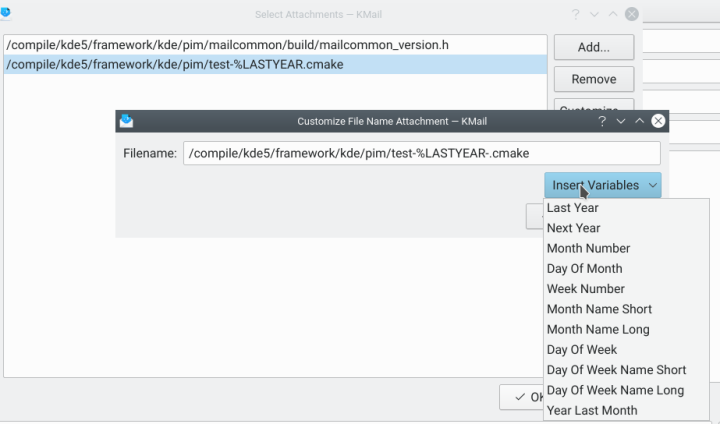 Configuration of variables in an attachment name in a KMail snippet.