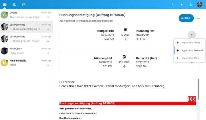 A Deutsche Bahn train ticket display in Nextcloud Mail (screenshot by Nextcloud).