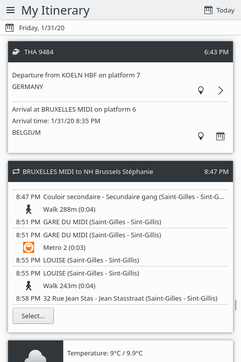 KDE Itinerary showing local transportation details from a train station to a booked hotel.