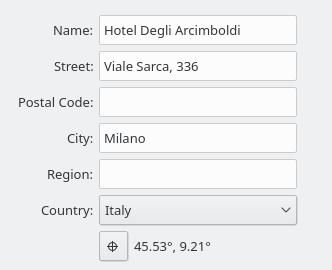 KDE Itinerary hotel location editor.