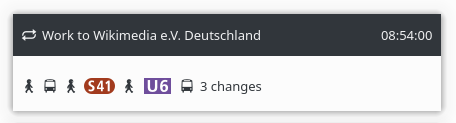 KDE Itinerary timeline showing a transfer element with official subway/rapid-transit line icons.