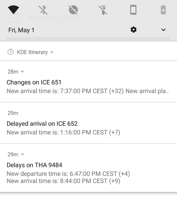 Three grouped notifications shown in full in an expanded group.