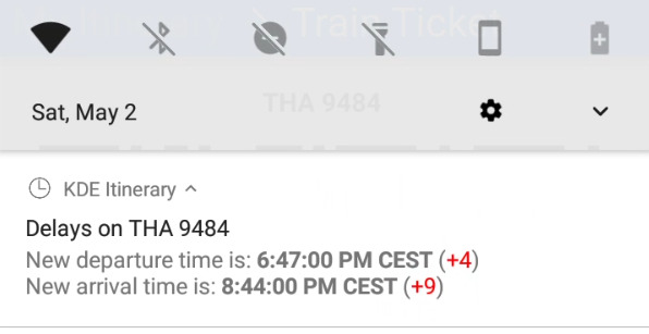 KF5Notifications on Android showing a multi-line rich-text notification message.