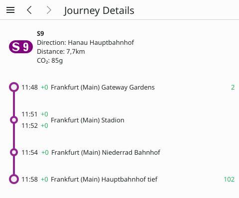 Journey section details including intermediate stops, real-time delay and platform change information as well as total distance and CO₂ emission.