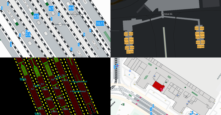 Four screenshots showing train station platforms, airport gates, train station building interior and navigation diagnostics.