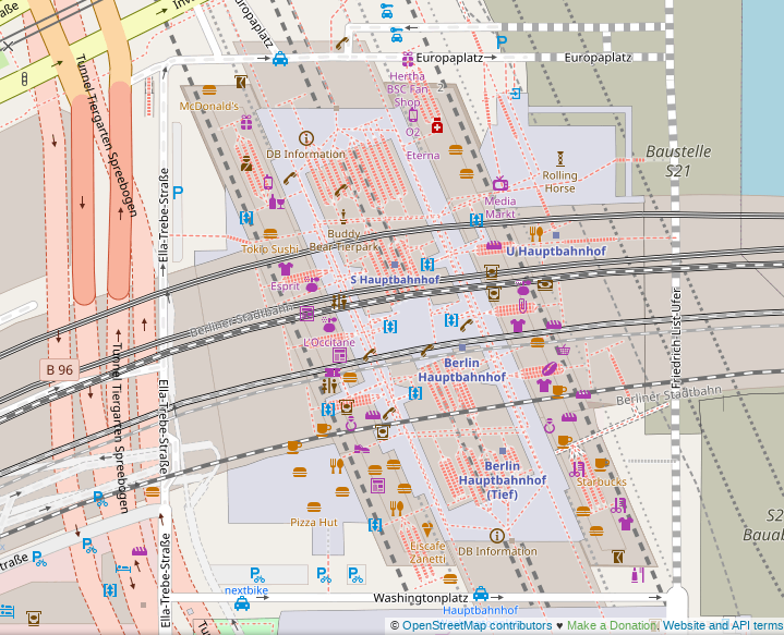 Screenshot of the default OpenStreetMap renderer showing Berlin central station.