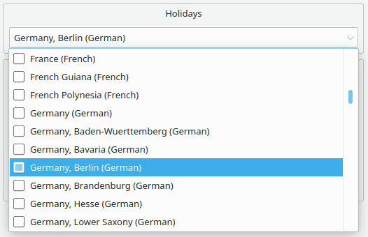 Configuration dialog of KOrganizer offering various holiday regions to pick from.