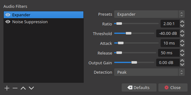Configuration dialog for audio filters in OBS.
