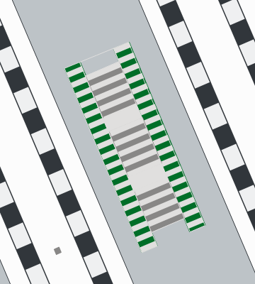 Map showing stairs between two train station floors.