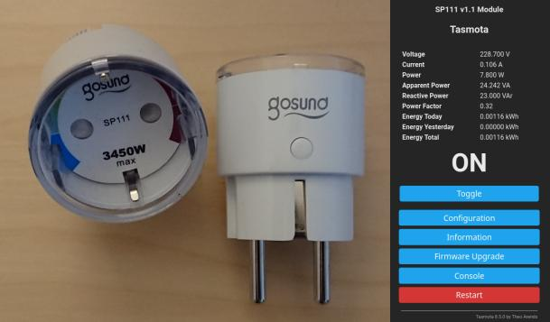 Picture of two Gosund SP111 Wifi power plugs and a screenshot of the Tasmota web interface running on it.