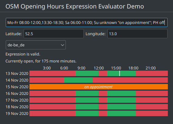 Screenshot of the KOpeningHours demo application showing parsing and evaluation of an OSM opening hours expression visualized in an interval table.