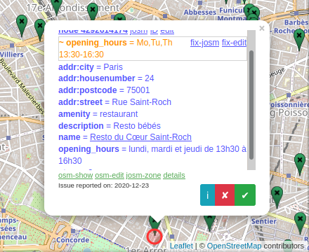 Screenshot of OSM's Osmose validator suggesting a fix to a localized opening hours expression.