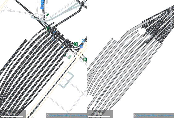 Screenshot of a side-by-side comparison of floor levels 0 and 1 of Brussels South station, showing railway tracks on the wrong level.