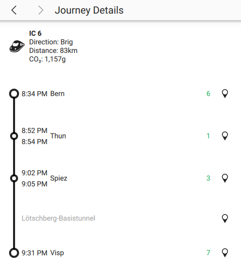 KDE Itinerary showing details of a train journey containing a non-station point of interest.