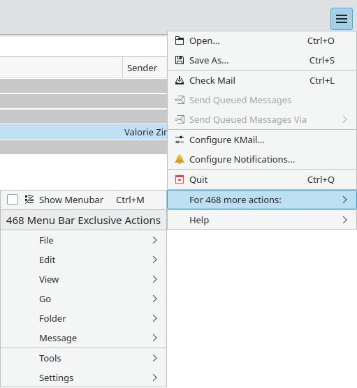 Screenshot of KMail showing the hamburger menu access to main menu actions.