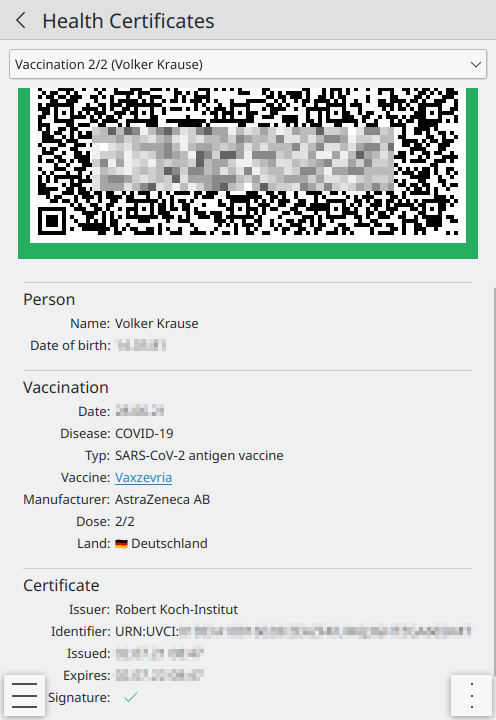 KDE Itinerary showing a vaccination certificate.