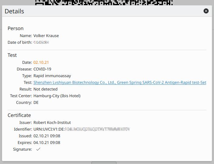 Screenshot of Vakzination showing a European digital COVID-19 test certficate.